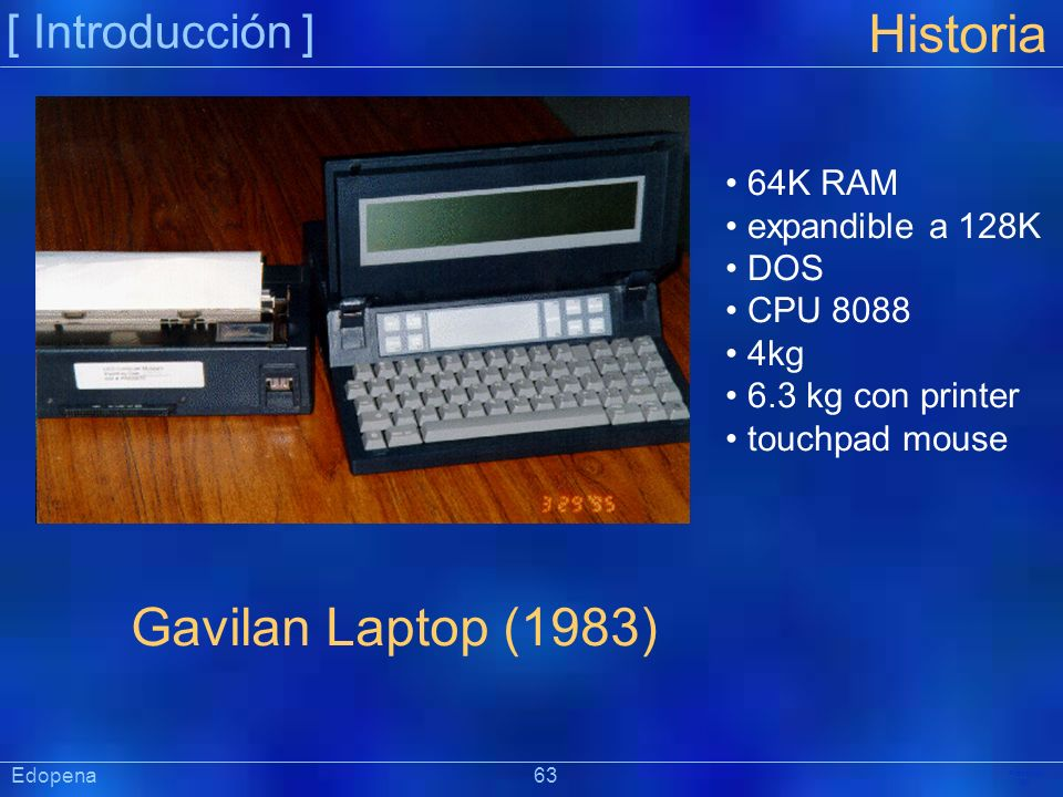 Historia Gavilan Laptop (1983) [ Introducción ] 64K RAM